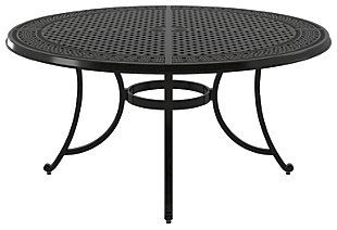 Burnella Large Round Dining Table with Umbrella Option, , rollover