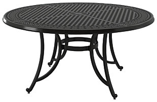Burnella Large Round Dining Table with Umbrella Option, , large