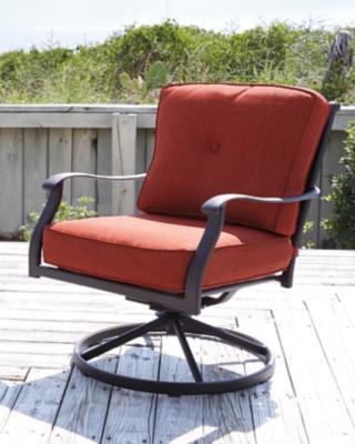 Ashley Burnella Swivel Lounge Chair (Set of 2), Orange/Brown
