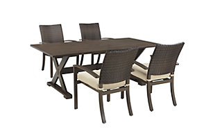 Moresdale 5-Piece Outdoor Rectangular Dining Set, , large