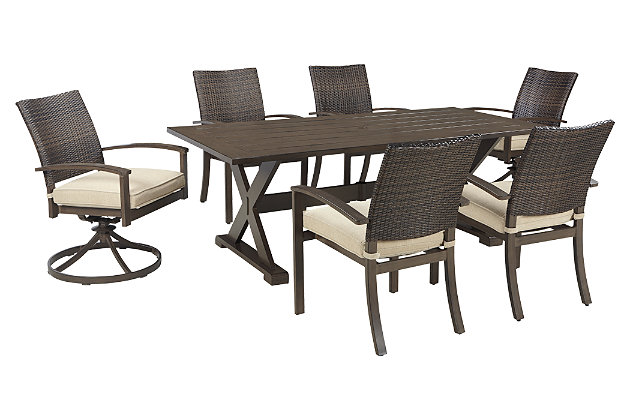 brown moresdale 7piece outdoor rectangular dining set view 2