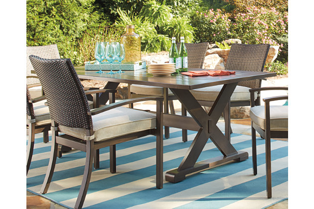 Moresdale 8-Piece Outdoor Rectangular Dining Set, , large