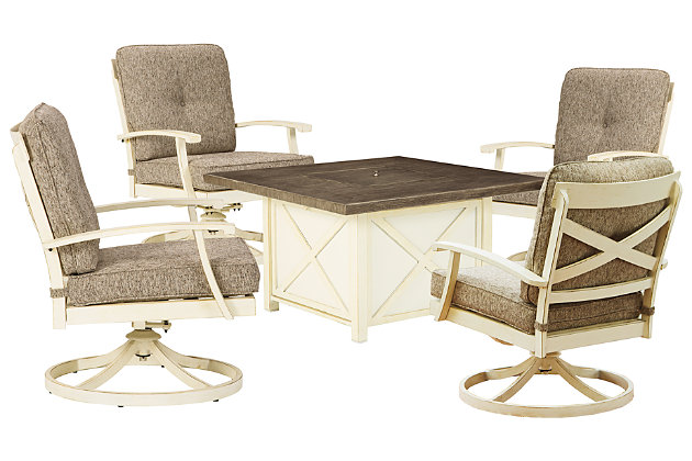 Preston Bay Outdoor Fire Pit Table and 4 Chairs, , large