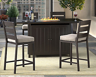 Perrymount Outdoor Fire Pit Table and 4 Chairs, , rollover