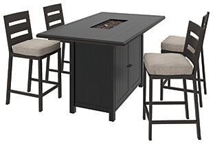 Perrymount Outdoor Fire Pit Table and 4 Chairs, , large