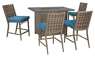 Partanna 5-Piece Outdoor Bar Table Set, , large