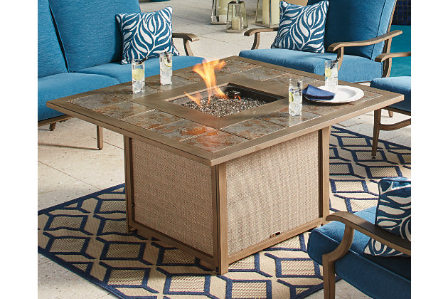 Partanna Fire Pit Table Ashley Furniture HomeStore - Large outdoor fire pit table