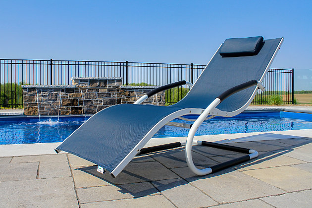 Patio Wave Lounger, Navy, large