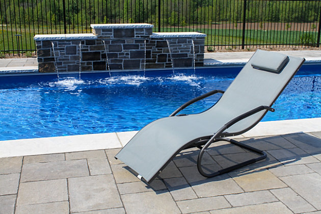 Patio Wave Lounger, Gray, large