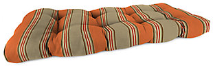 "Home Accents 44"" x 18"" Outdoor Sunbrella Wicker Settee Cushion, Poppy Stripe, large"