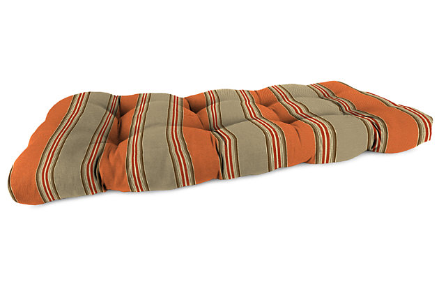 "Home Accents 44"" x 18"" Outdoor Sunbrella Wicker Settee Cushion, Poppy Stripe, large"