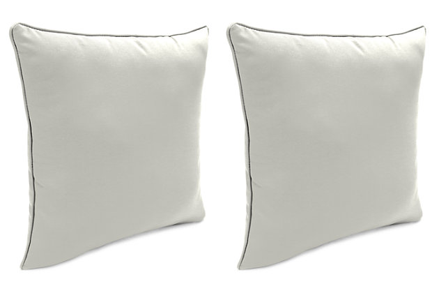"""Home Accents Outdoor Sunbrella 18"""" x 18"""" Toss Pillow (Set of 2), Granite, large"""