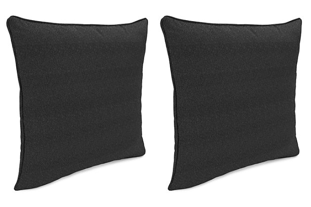 """Home Accents Outdoor Sunbrella 18"""" x 18"""" Toss Pillow (Set of 2), Charcoal, large"""