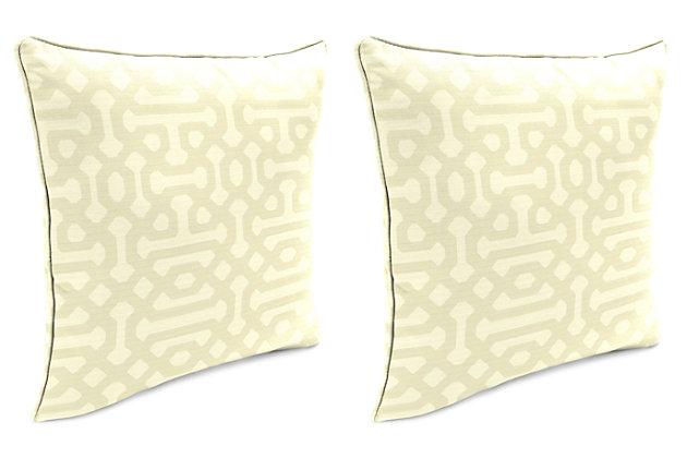 "Home Accents Outdoor Sunbrella 18"" x 18"" Toss Pillow (Set of 2), Flax, large"