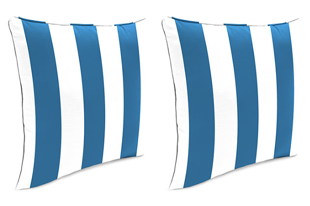 "Home Accents Outdoor Sunbrella 18"" x 18"" Toss Pillow (Set of 2), Cabana Stripe, large"