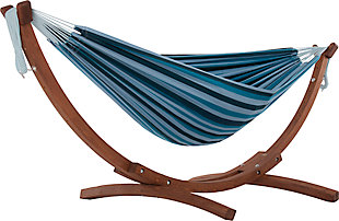 Patio Double Cotton Hammock with Solid Pine Arc Stand, Blue Lagoon, large