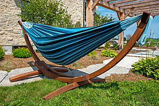 Patio Double Cotton Hammock with Solid Pine Arc Stand, , rollover