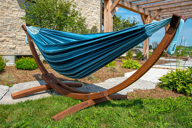 Patio Double Cotton Hammock with Solid Pine Arc Stand, , large