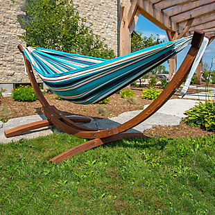 Patio Double Sunbrella® Hammock with Solid Pine Arc Stand, Token Surfside, rollover