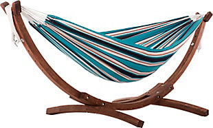 Patio Double Sunbrella® Hammock with Solid Pine Arc Stand, Token Surfside, large