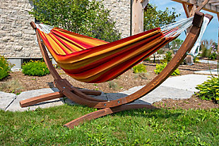 Patio Double Sunbrella® Hammock with Solid Pine Arc Stand, , rollover