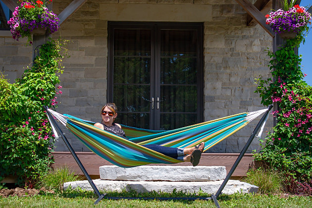 Patio Combo - Sunbrella® Hammock with Stand, Lagoon, large