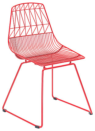 Patio Dining Chair Red (Set of 2), , large