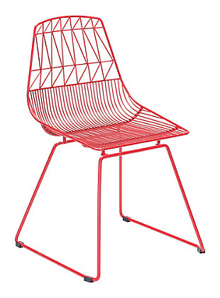 Patio Dining Chair Red (Set of 2), Red, rollover
