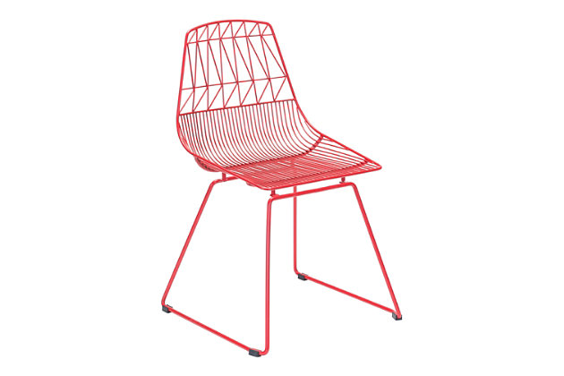 Patio Dining Chair Red (Set of 2), Red, large