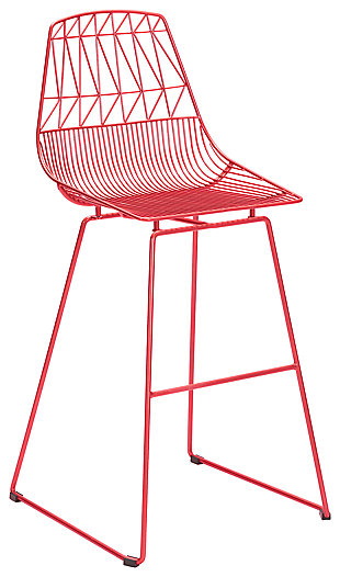 Patio Red Bar Chair (Set of 2), Red, large