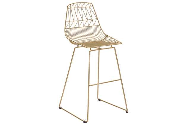 Patio Gold Finish Bar Chair (Set of 2), , large