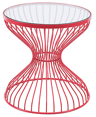Patio Red Side Table, Red, large