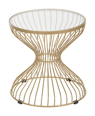 Patio Gold Finish Side Table, Gold, large