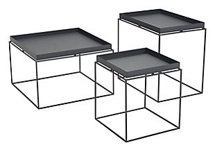 Patio Black Nesting Table (Set of 3), Black, rollover
