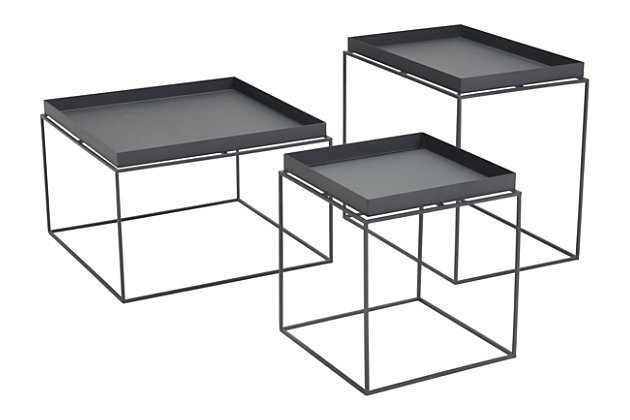 Patio Black Nesting Table (Set of 3), Black, large