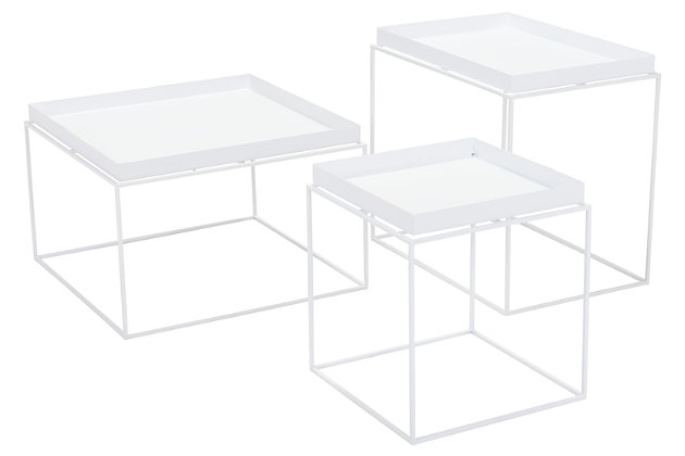 Patio Nesting Table (Set of 3), White, large