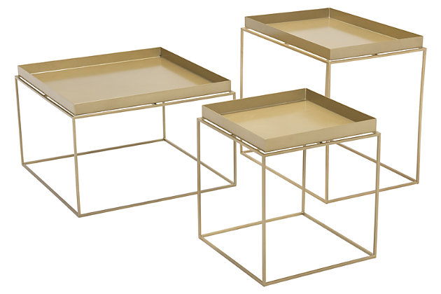 Patio Gold Finish Nesting Table (Set of 3), Gold, large