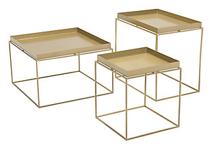 Patio Gold Finish Nesting Table (Set of 3), , rollover