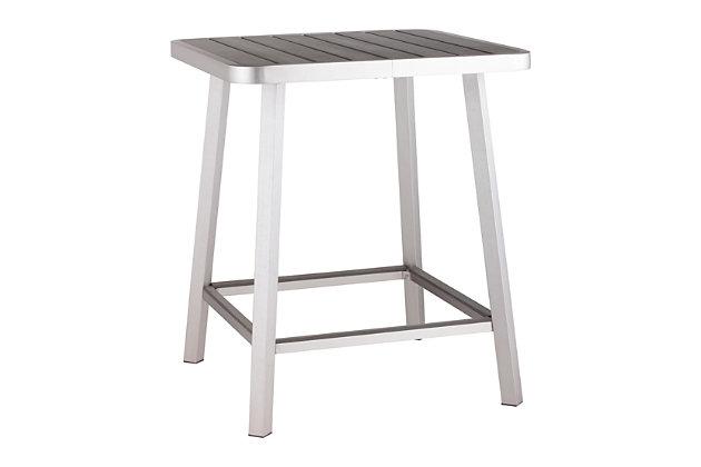 Patio Brushed Aluminum Bar Table, , large