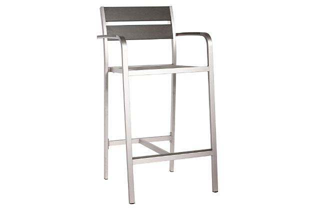 Patio Brushed Aluminum Bar Arm Chair (Set of 2), , large