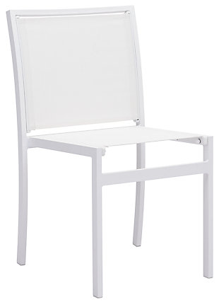 Patio Dining Chair (Set of 2), White, large