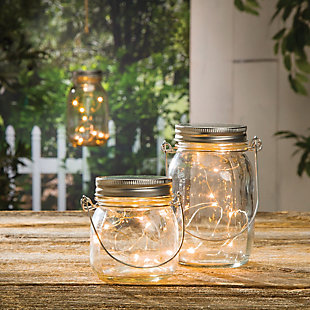 "Outdoor 6.9"" Glass Mason Jars (Set of 4), , rollover"