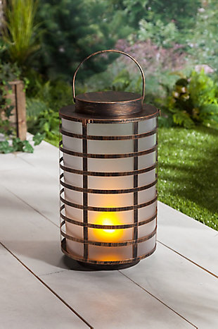 "Outdoor 15.5"" Copper Metal and Plastic Lantern, , rollover"