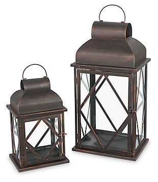 Outdoor Nested Metal Lanterns (Set of 2), , large