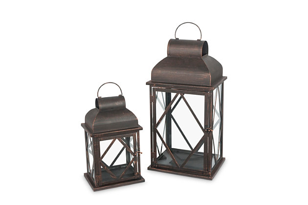 Outdoor Nested Metal Lanterns (Set of 2), , large