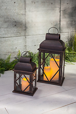 Outdoor Nested Metal Lanterns (Set of 2), , rollover
