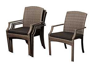 Stackable Wicker Arm Chair (Set of 4), , large