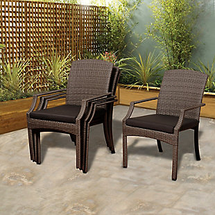 Stackable Wicker Arm Chair (Set of 4), , rollover