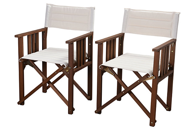 International Home Eucalyptus Wood Off-White Director Chair (Set of 2)