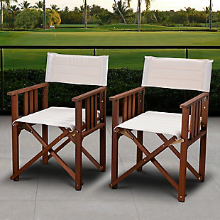 Eucalyptus Wood Off-White Director Chair (Set of 2), , rollover